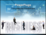 PowerPoint Template - business team of people around the business word isolated over a white background