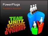 PowerPoint Template - Three team members stand on the words Team Unity Support Harmony and Synergy