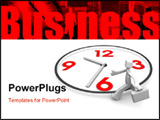 PowerPoint Template - Businessman carrying briefcase run around a clock 3d illustration