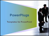 PowerPoint Template - Blue and green animated trapezium with two businessmen talking.