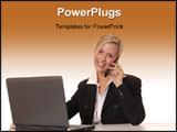 PowerPoint Template - beautiful and smart blond business woman with laptop