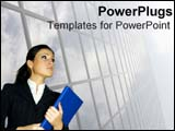 PowerPoint Template - Business woman looks upwards.