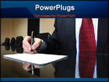 PowerPoint Template - Business Manager writing on blank paper business concept