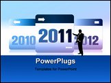 PowerPoint Template - New Year vector 2011,2012 number with reflections.