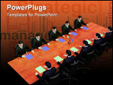 PowerPoint Template - On 3d image two group of businessmans on informal business meeting