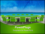 PowerPoint Template - 3D rendering of a Meeting table and chairs in the water of a Caribbean beach