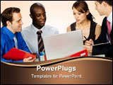 PowerPoint Template -  young and attractive group of professionals having a discussion in their office against white back