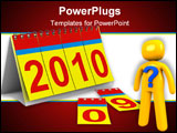 PowerPoint Template - 2010 year calendar on white background. Isolated 3D image