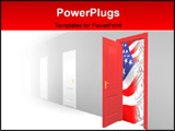 PowerPoint Template - Opened door to business world with flag and currency showing