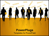 PowerPoint Template - Illustration of business people and shadow, black, yellow