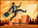 PowerPoint Template - Illustration of a young businessman in a hurry