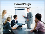 PowerPoint Template - mage of smart business people looking at their leader while he explaining something on whiteboard d