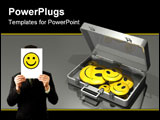 PowerPoint Template - d illustration of an open metallic briefcase filled with an assortment of large yellow smiley faces