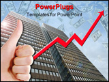 PowerPoint Template -  thumbs up with a graph line going up and up, with a tall business building in the background. succ