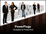PowerPoint Template - Business people with a puzzle isolated on white