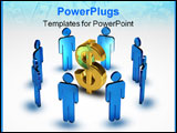PowerPoint Template - Blue figures standing in a circle around a golden dollar symbol