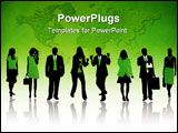 PowerPoint Template - Illustration of people silhouettes and shadow green