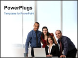 PowerPoint Template - business people at the office as a team