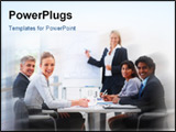 PowerPoint Template - Portrait of confident happy business people sitting in a conference for training