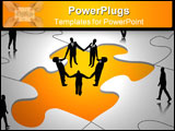 PowerPoint Template - Illustration of business people in puzzle world