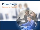 PowerPoint Template - a business team gathered around the computer (focus on man)