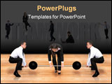 PowerPoint Template - teamwork business power - two guys helping a female business woman lifting weights