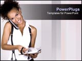 PowerPoint Template - Busy woman takes the time to smile.