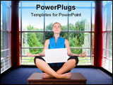 PowerPoint Template - Barefoot young woman seated in yoga pose with laptop.