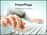 PowerPoint Template - Close-up of secretary�s hand touching computer keys during work