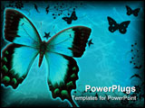 PowerPoint Template - blue swallowtail butterfly isolated on white with clipping path