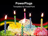 PowerPoint Template - Six decorated cupcakes with bright fun candles