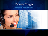 PowerPoint Template - Smiling pretty business woman with a headset.
