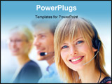 PowerPoint Template - A friendly secretary/telephone operator in an office environment. ** Note: Shallow depth of field