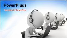 PowerPoint Template - d small person - operators sitting at laptops in ear-phones with a microphone. 3d image. White back