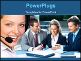 PowerPoint Template - Beautiful business woman with headset. Business people meeting