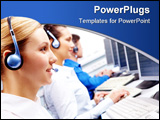PowerPoint Template - Row of telephone operators looking at the monitor and working