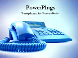 PowerPoint Template - 3D rendering of a blue telephone.