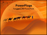 PowerPoint Template - Camel caravan going through the sand dunes in the Sahara Desert Morocco.