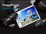 PowerPoint Template - camera and lense on black showing photographer still life