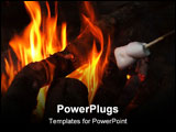 PowerPoint Template - camp fire at night.