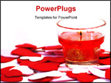 PowerPoint Template - glass candleholder with burning candle over scattered hearts