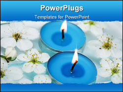 PowerPoint Template - blue Candle with spring flowers in water