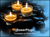 PowerPoint Template - Close up of three burning candles and black stones