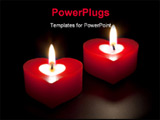 PowerPoint Template - Heart shaped candles isolated on black background