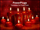 PowerPoint Template - red candles assorted on a red background