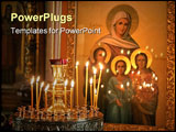 PowerPoint Template - lighting candles standing over icon in the church