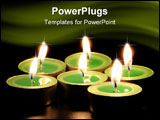 PowerPoint Template - Green aromatic candles on black background with reflection