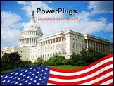 PowerPoint Template - Outdoor view of US Capitol in Washington DC with beautiful blue sky in background