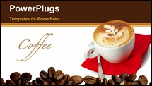 PowerPoint Template - cappuccino cup close up with leaves design