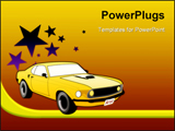 PowerPoint Template - Illustration of sport car ford mustang with stars